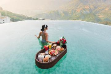 Chiêm ngưỡng toàn cảnh thung lũng Mường Hoa thơ mộng tại Bamboo Sapa Hotel đẳng cấp